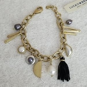 New Lucky Brand Two Tone Charm Bracelet